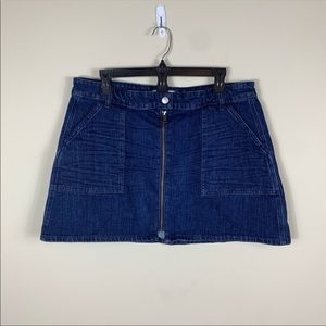Madewell denim utility front zip mini skirt